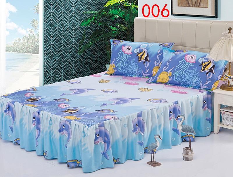 cartoon fish polyester bed skirt mattress cover petticoat twin full queen bed skirts dust ruffle bedspread - Dust Ruffles