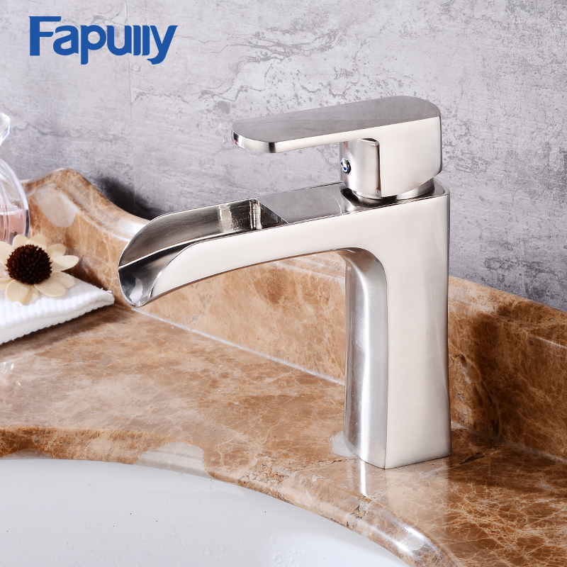 Fapully Waterfall Bathroom sink Faucet Stainless steel brush Bath Basin Mixer Tap