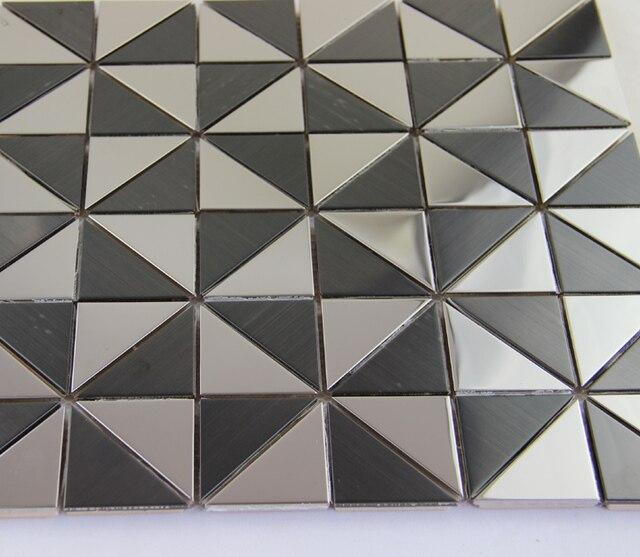 Hot Noir Blanc Triangle Metal Mosaique Carrelage Mural Metallique