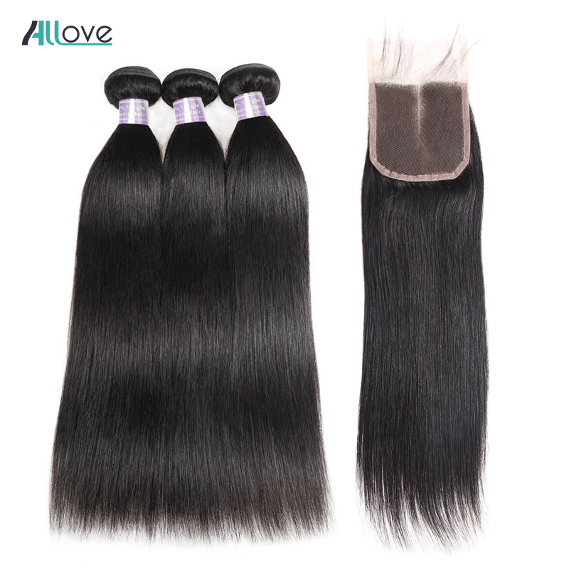 Allove 3 Bundles Peruvian Straight Hair With Closure 4x4 Middle Part Human Hair Closure With Bundles