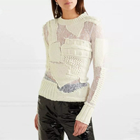 HIGH STREET New Fashion 2018 Designer Sweater Top Women's Perspective Lace Patch Stylish Sweater