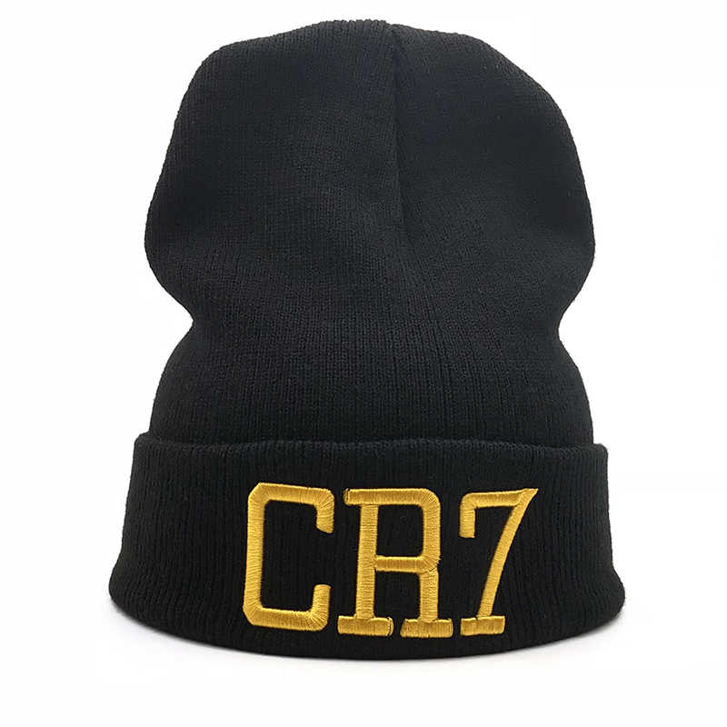 881e1d0a 2018 new Solid color men women CR7 embroidered Knit Hat Winter Hats  Skullies & Beanies Cristiano Ronaldo winter Warm hat