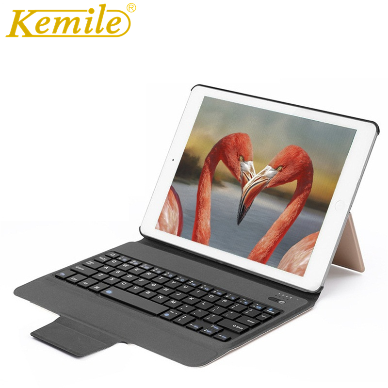 все цены на Case for iPad 2017 2018 9.7 W Bluetooth Keyboard,Kemile Ultra Slim Auto sleep leather Stand Cover For iPad 2018 A1893 A1954 Case онлайн