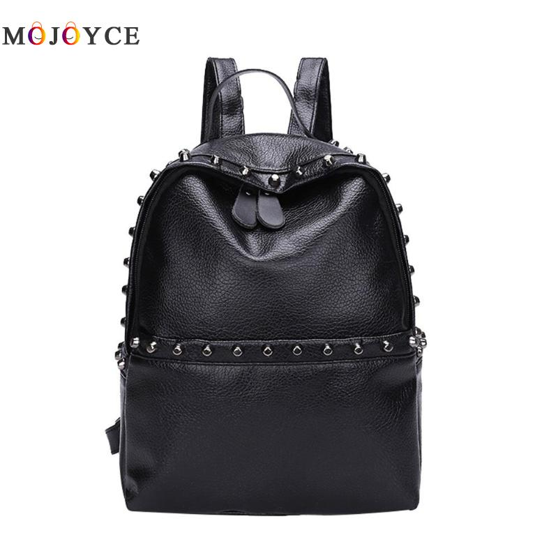 Classic Rivets Women Mini Backpacks Pu Leather Street Casual Girls Shoulder Zipper School Backpacks Mochila Feminina