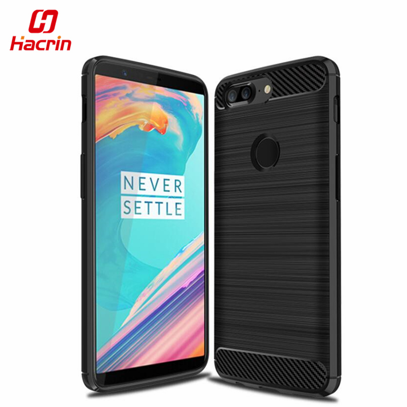 Oneplus 5T Case Brushed Carbon Fiber Style Protective Back Cover <font><b>Rugged</b></font> Shockproof TPU Silicone Case For Oneplus 5T Hacrin