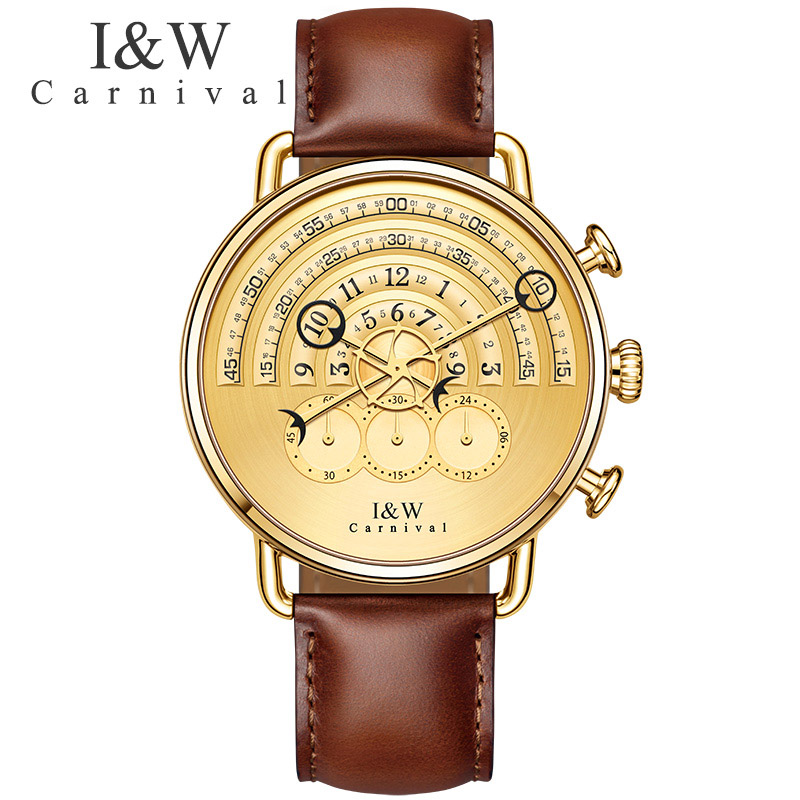 Unique Design Luxury Brand Watches Carnival Men Chronograph Sports Quartz Watch Brown Leather Wristwatches Sapphire Gold Case seiko watch premier series sapphire chronograph quartz men s watch snde23p1