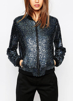 Women Sequin Coat Bomber Jacket Long Sleeve Zipper Streetwear Casual Loose Glitter Outerwear female Sequin Tops Streetwear Blue