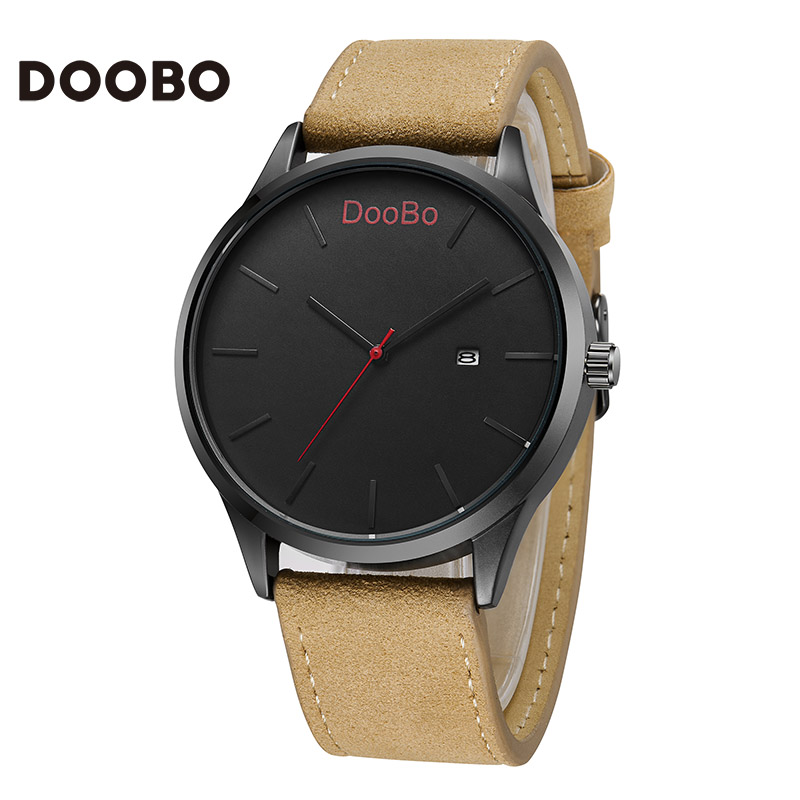 DOOBO Luxury Brand Relogio Masculino Date Leather Casual Watch Men Sports Quartz Military WristWatch Male Clock Drop shipping luxury brand men s quartz date week display casual watch men army military sports watches male leather clock relogio masculino