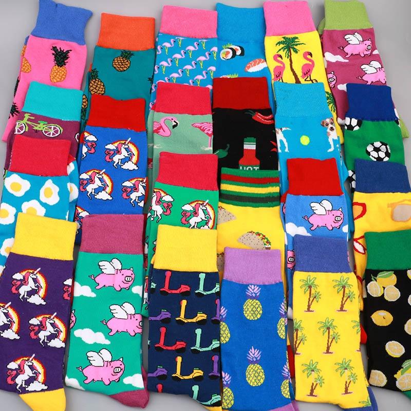 Men Casual Cotton Happy Socks Harajuku Hip Hop Skarpetki Funny Colorful Streetwear Compression Socks Gift