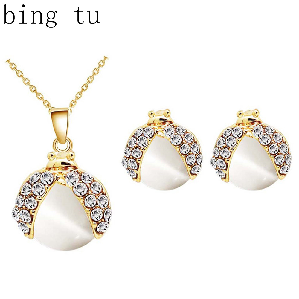 Bing Tu Fashion Wedding Party Jewelry Sets Cute Ladybug Shape Crystal  Necklace Earrings Women Gold Color