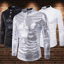Silver Hot stamping Glossy Long sleeve Stand collar fashion slim sexy shirt men shirt camisa masculina teenage shirts mens shirt цена