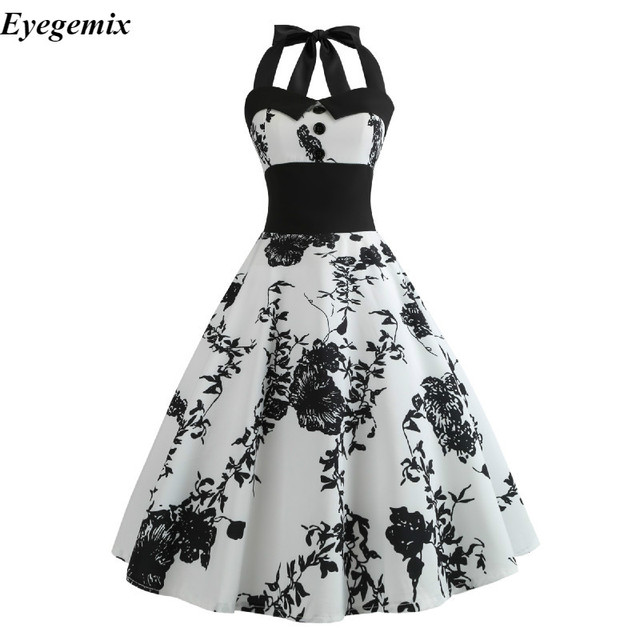 4e90d9212c598 US $9.34 5% OFF|Summer Dress 2019 Casual Floral 50s 60s Retro Vintage Dress  Women Robe Rockabilly Swing Pinup Vestido Sexy Elegant Party Dresses-in ...