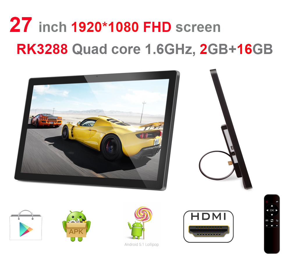27 Inch Smart Digital Signage Display (Android5.1, Quad Core, 2GB DDR3, 16GB Nand, 1.8Ghz, Remote, No Camera, Bluetooth, VESA)