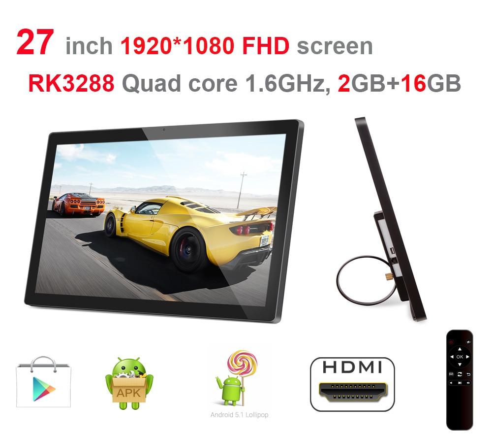 27 Inch Smart Digital Signage Display (Android5.1, Quad Core, 2GB DDR3, 16GB Nand, 1.8Ghz, Remote, No Camera, Bluetooth, VESA)