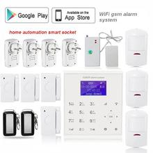 433mhz Wireless wifi gsm alarm systems home security with smart socket home automation system water leak sensor Android/IOS App