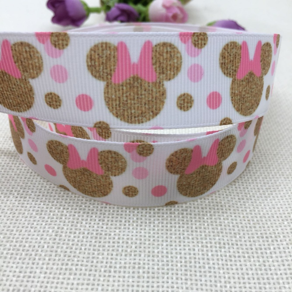 1'' (25mm-<font><b>38mm</b></font>) 5yard Minnie Mickey Mouse <font><b>ribbon</b></font> <font><b>grosgrain</b></font> <font><b>ribbon</b></font>,cloth accessories,gift package party <font><b>ribbon</b></font>,child DIY 56776 image