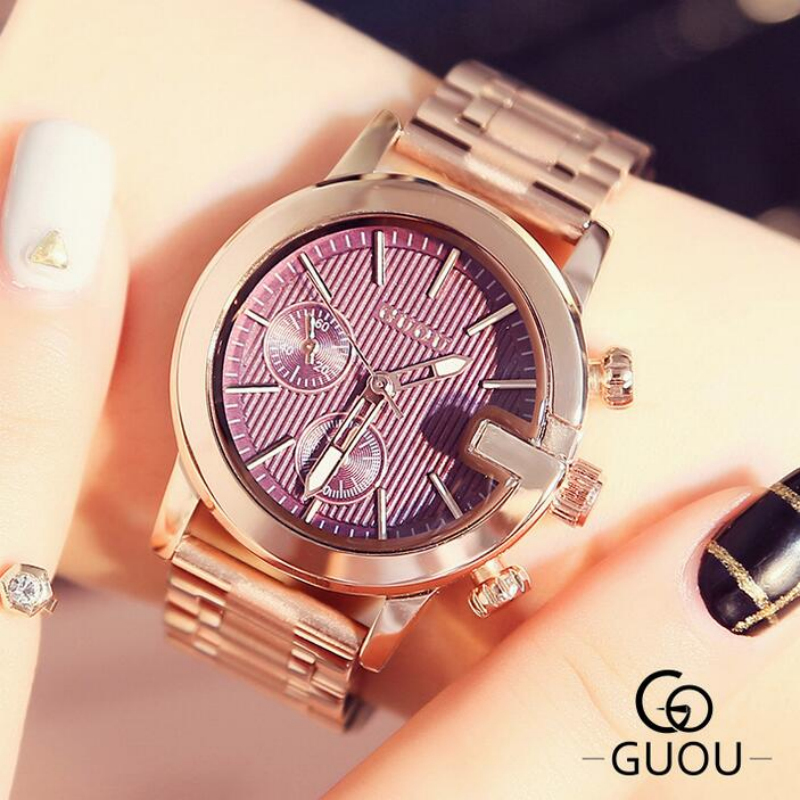 GUOU Brand Luxury Rose Gold Women Watches Fashion Women's Watches Full Stee Ladies Watch Clock bayan kol saati relogio feminino