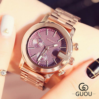 GUOU Brand Luxury Rose Gold Women Watches Fashion Women's Watches Full Stee Ladies Watch Clock bayan kol saati relogio feminino