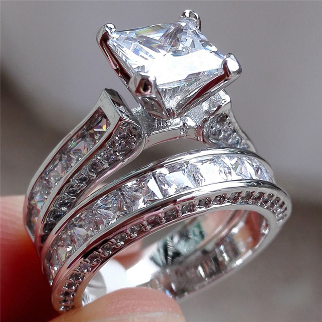 Rings for Women High Luxury Fashion 2-in-1 Vintage White Crystal Rhinestone Silv