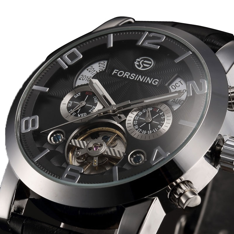 Fashion Automatic Mechanical Watch Men Business Watches Male High Quality Clock Gift for Mens Black/White Genuine Leahter Band forsining date display automatic mechanical watch men business leather band watches modern gift dress classic analog clock box