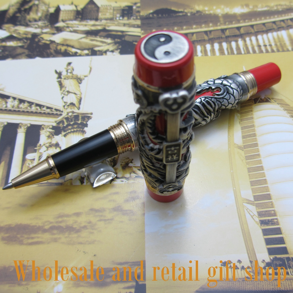 Jinhao Dragon Phoenix Heavy Gray Red Chinese Classical Luck Clip roller Pen and pen bag fountain pen jinhao j200 dragon and phoenix antique gold and red screw heavy pen chinese auspicious dragon