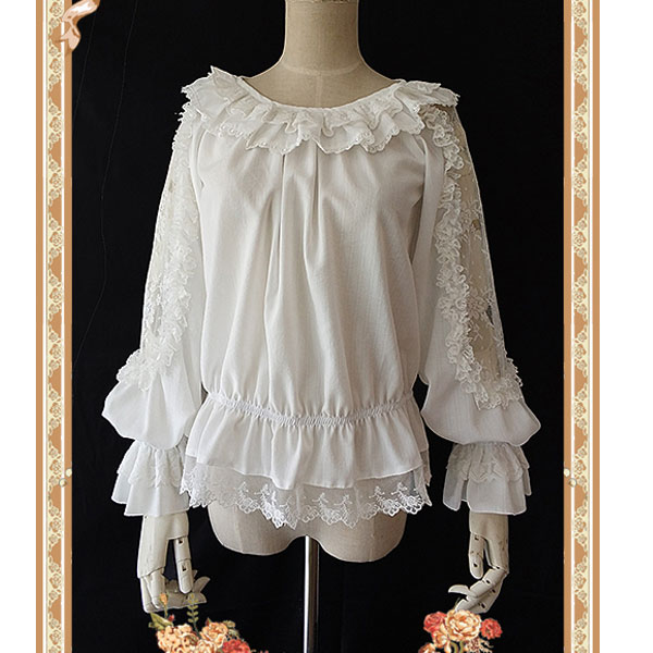 Sheer Long Hollow Out Sleeve Lace Top with Ruffles by Infanta-in Blouses & Shirts from Women's Clothing    1