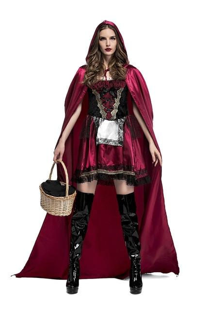 2018 New Fairy Tale Little Red Riding Hood Costume Women Halloween Costumes  Princess Dress Carnival Cosplay Fancy Dress d8d24c5b90