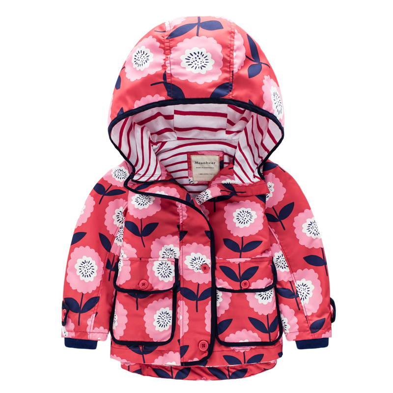 New girls jackets Europe and America children s children s baby loose casual hooded windbreaker jacket