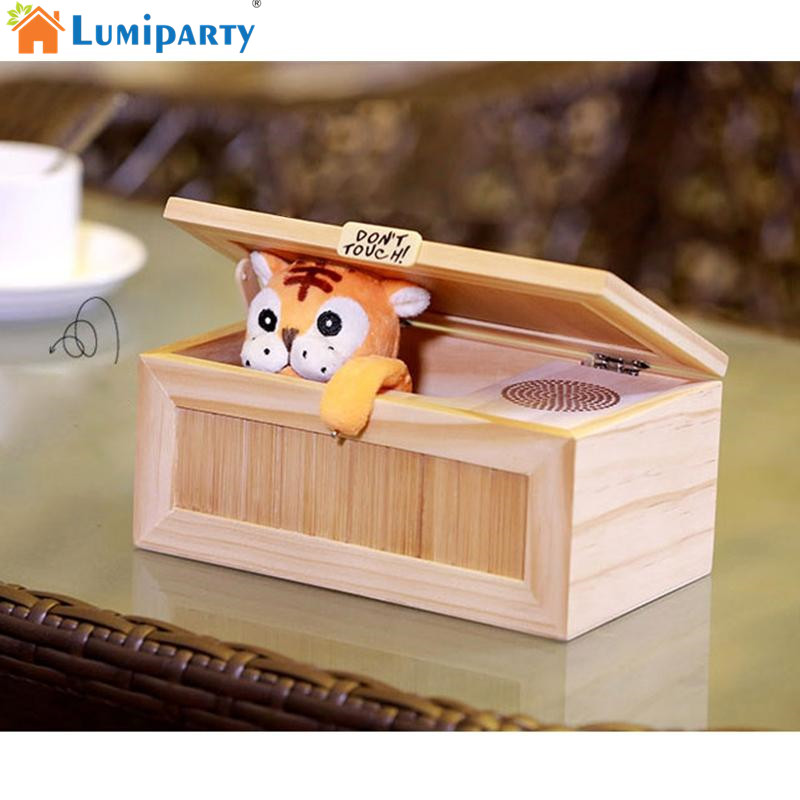 LumiParty Useless Box Surprises Most Leave Me Alone Machine Cute Tiger Creative Funny Toys neje wooden useless fully assembled machine box toy brown 2 x aa