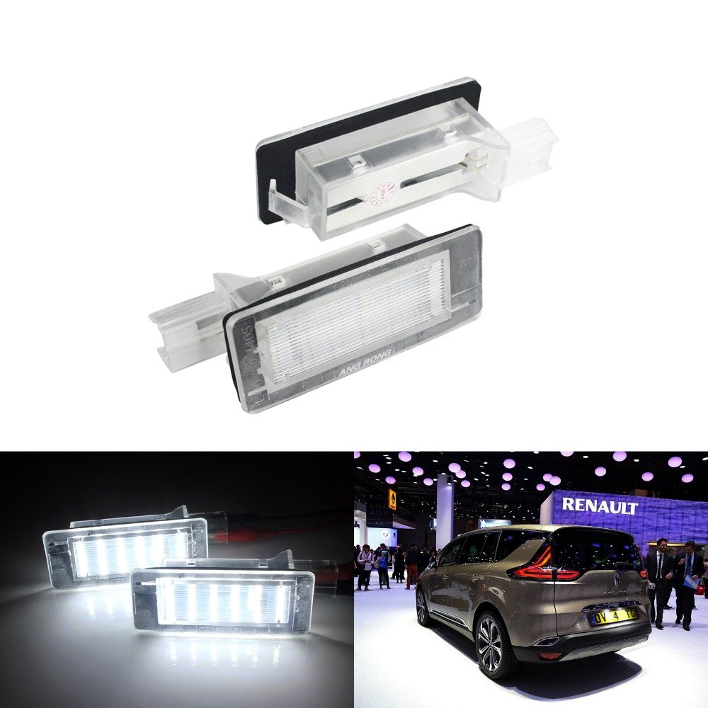 ANGRONG 2x <font><b>LED</b></font> Licence Number Plate Light For <font><b>Renault</b></font> Scenic Espace <font><b>Modus</b></font> (Fit Dacia)8200013577 image