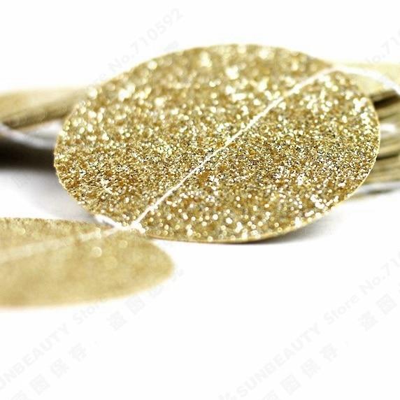 Champaign Gold Sparkly Glitter Circle Garland DIY Glittery Circle Confetti Garland for Showers Birthday Wedding Christmas Decor