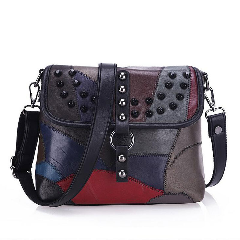 Genuine Leather Women Messenger Bags Rivet Patchwork Crossbody Bags Female Fashion Designer Handbags Shoulder Bag sunmejoy fashion ribbons handbags designer women bag crossbody bags rivet shoulder bags embroidered floral women messenger bag
