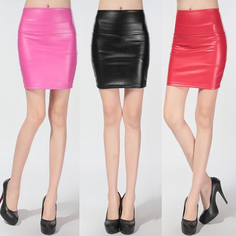 2016 Novo Inverno Sexy Mulheres De Cintura Alta de Couro Curta Faux PU Saias Lápis Mini Saias para Lady Branco, Preto, ouro, Rosa, Vermelho, Caqui