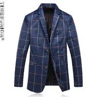 Mens Blu Navy Blazer Stampato Modello Sottile Reticolo Prom Blazers Uomini Monopetto Giacca Costumi di Scena Per Cantanti 5XL