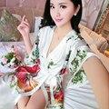 2016 зима атласные халаты для невесты свадебное одеяние пижамы шелка pijama случайный халат животных вискоза долго ночной рубашке женщины кимоно