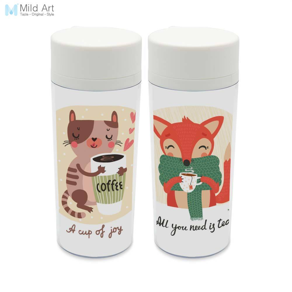 Personalized Modern Animals Coffee Tea With Lid BPA Free Plastic Insulated Kawaii Cat Fox Cute Kids Water Bottles 300ml Gift