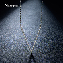 NEWBARK Newest V Letter Pendant Necklaces Top Quality Tiny Cubic Zirconia Simulated Diamond White Gold Plated