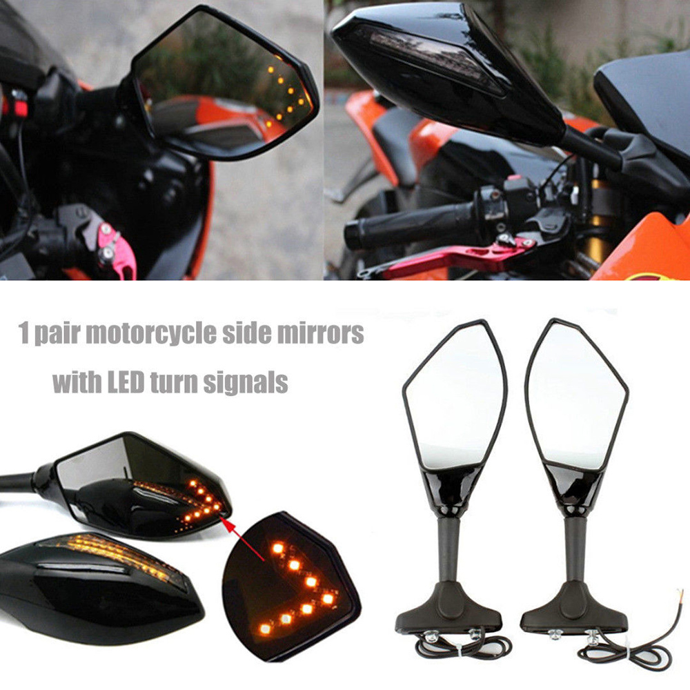 Pair Black Motorcycle LED Turn Signal Mirrors For Suzuki SV650S 2003-2008 Auto Parts & Accessories