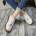 2017 New Style Woman Leather Preppy Style Lace Up Casual Flats Soft Fashion Shoes Women Size 35-39 CYH&17108