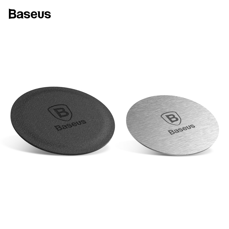Baseus Magnetic Disk For Car Phone Holder 2 Pieces Metal & Leather Iron Sheets Plate Use  Magnet Mount Mobile Phone Holder Stand