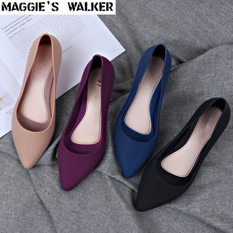 Wedges Sandals Walker Rain-Shoes Maggie's Pointed-Toe Resin Slip-On Summer Women Size-36--40
