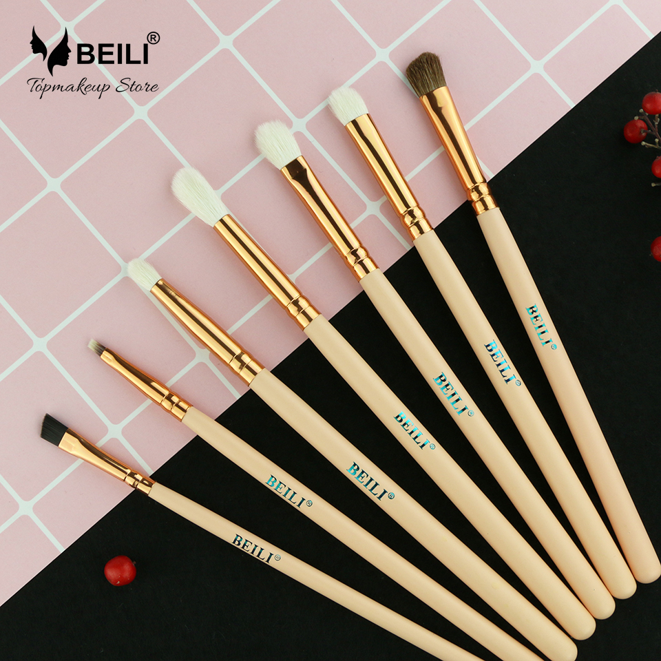 BEILI PINK 7Pcs Goat synthetic hair Precise eye shadow eyeliner Contour Rose Makeup brush SetBEILI PINK 7Pcs Goat synthetic hair Precise eye shadow eyeliner Contour Rose Makeup brush Set