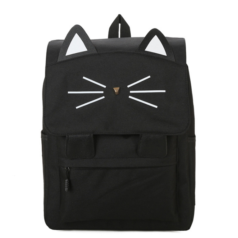 Homeda New Fashion Canvas Cartoon Lovely Cat Woman Backpack Solid School Girl College Student Travel Softback Female Bag Y0350 chic canvas leather british europe student shopping retro school book college laptop everyday travel daily middle size backpack