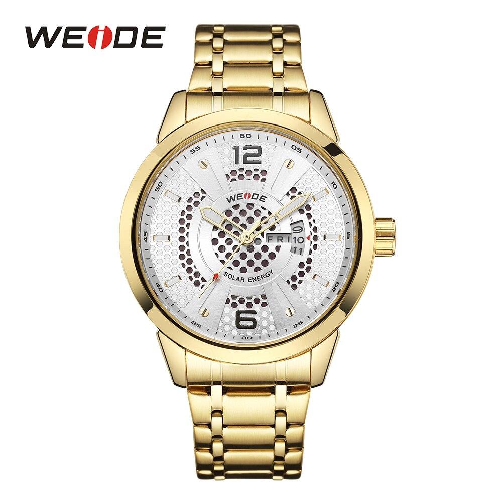 WEIDE Для мужчин солнечной энергии Спорт Авто Дата аналоговые кварцевые двигаться Для мужчин t Нержавеющаясталь Band Gold Case наручные часы Relogio ...