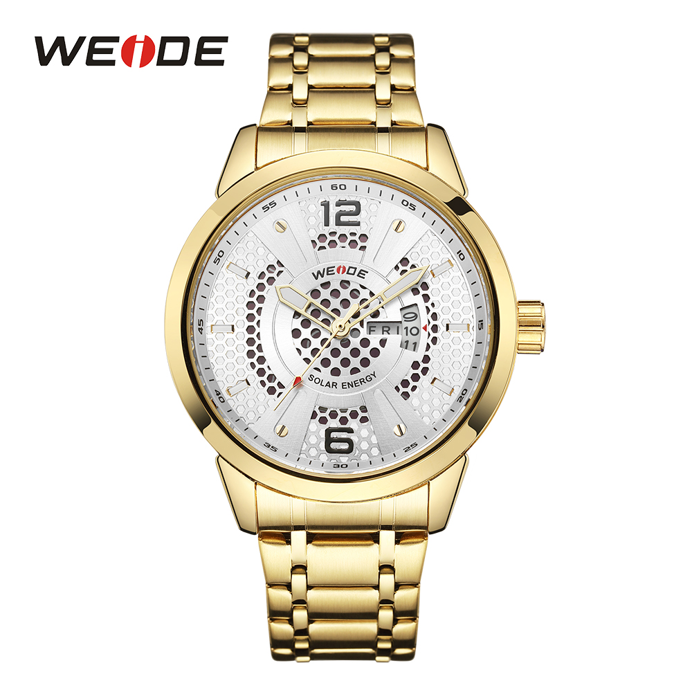 WEIDE Men Solar Energy Sport Auto Date Analog Quartz Movement Stainless Steel Band Gold Case Wristwatch Clock Relogio Masculino