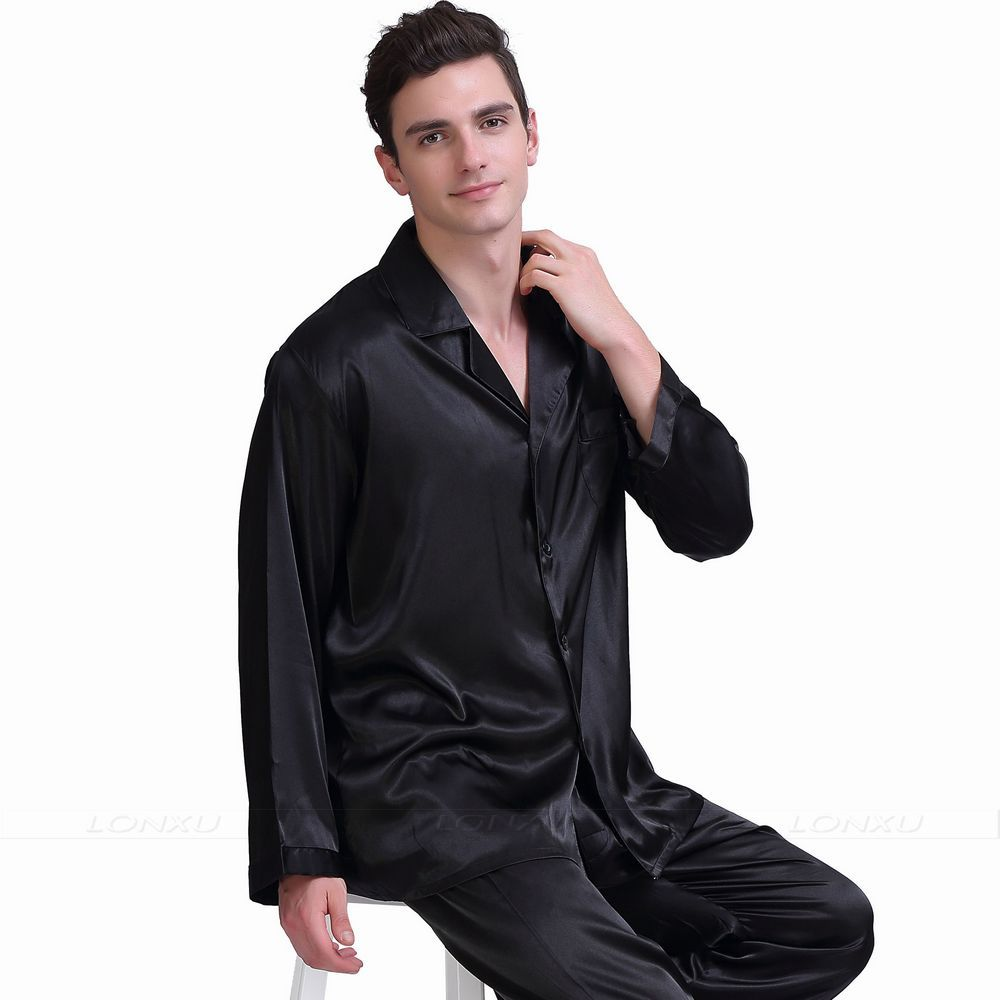 Mens Silk  Satin  Pajamas  Set  Pajama  Pyjamas  Set   PJS  Set  Sleepwear  Loungewear S,M,L,XL,2XL,3XL,4XL__Gifts