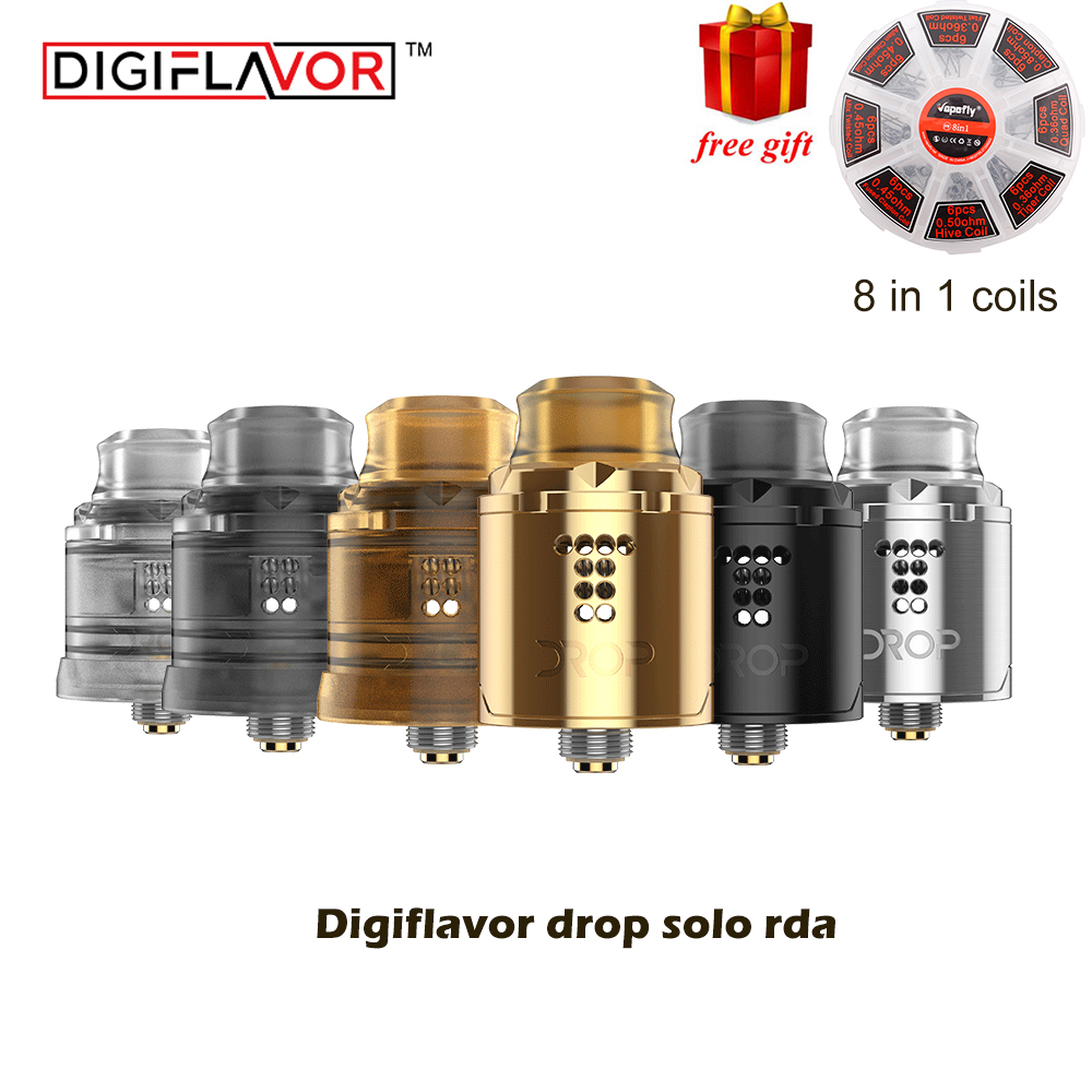 Free gift Original Digiflavor Drop Solo RDA single coil 22mm drop rda with two caps standard 510 and BF Squonk 510 pin deep base alto ts210