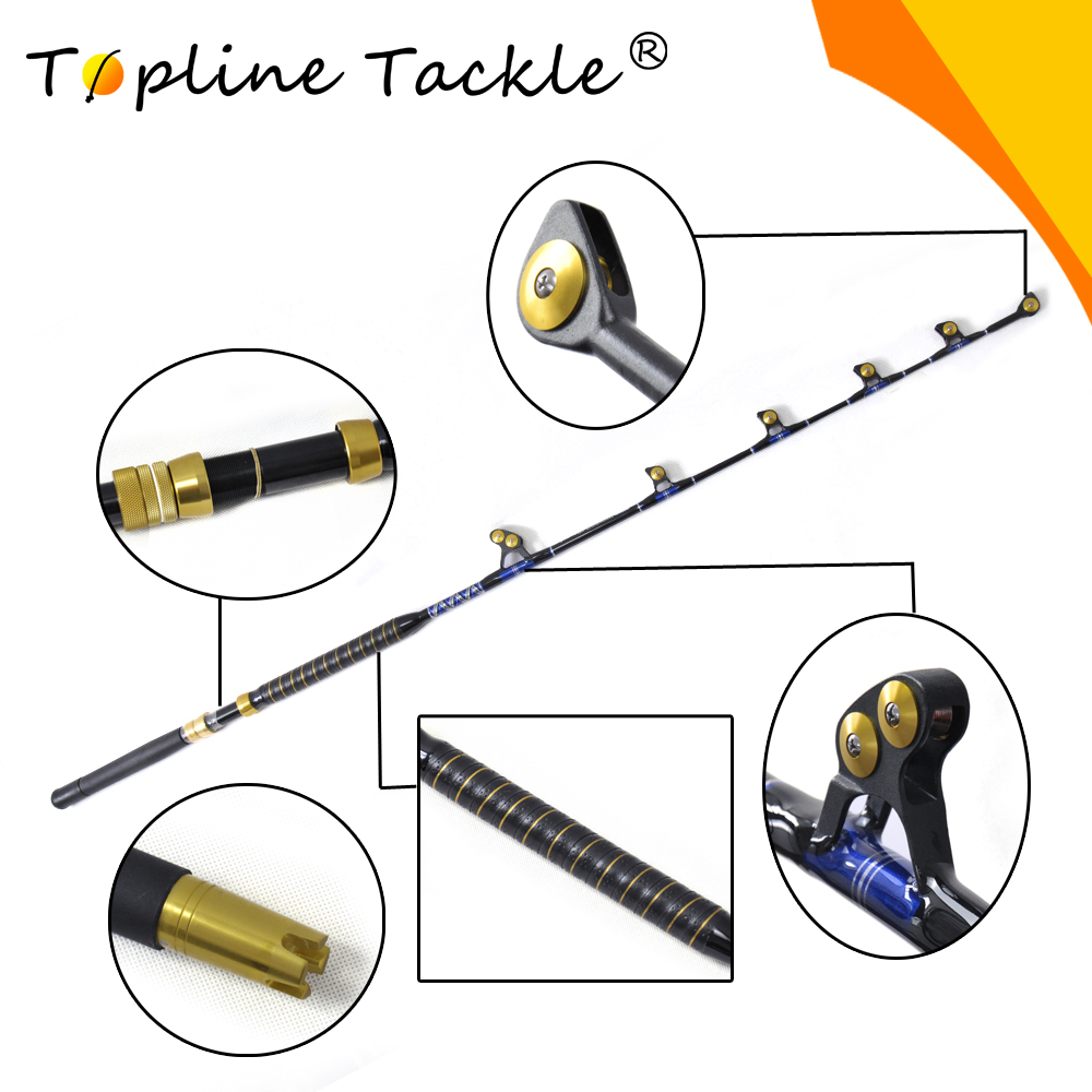 Topline Tackle Fishing fiber glass boat trolling rod BlueSpear 100# 5'6 leather fore grip in china рубашка fore axel
