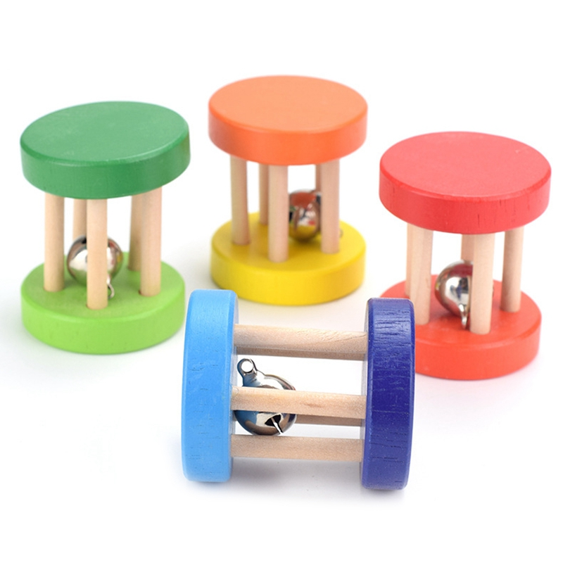 Toddler Wooden Toys Colorful Musical Hand Rattles Cage Bell/Rattle Toy Early Practice Training Toy For Infant Baby Birthday Gift
