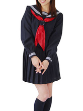 Free shipping Black Long Sleeves Cosplay School Uniform